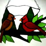 Cardinal Pair Male and Female Large Sun Catcher