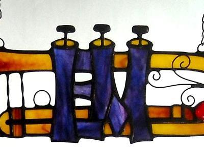 Initials in a Trumpet  'EM'