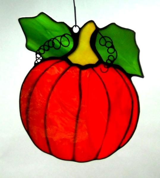 Pumpkin Sun Catcher ~ Bright Garden Orange