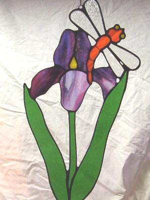 Iris and Dragonfly ~ Large Sun Catcher