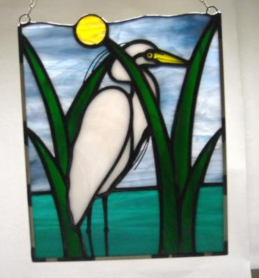 Small Panel with White Egret