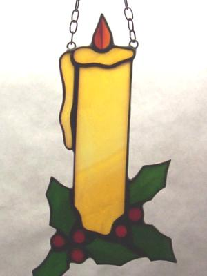 Christmas Candle with Holly