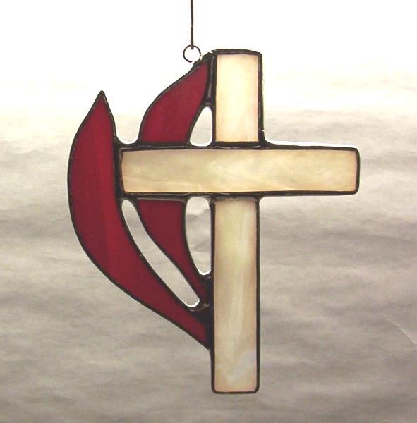 Methodist style cross suncatcher