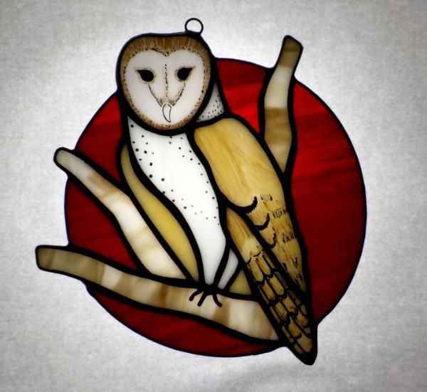Barn Owl in a Blood Moon ~ Large Sun Catcher