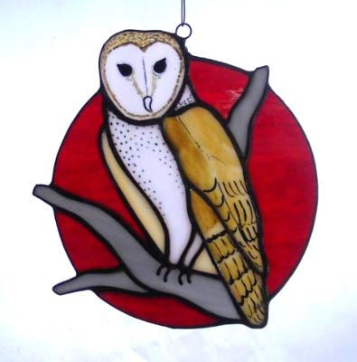 Barn Owl in a Blood Moon ~ Large Sun Catcher