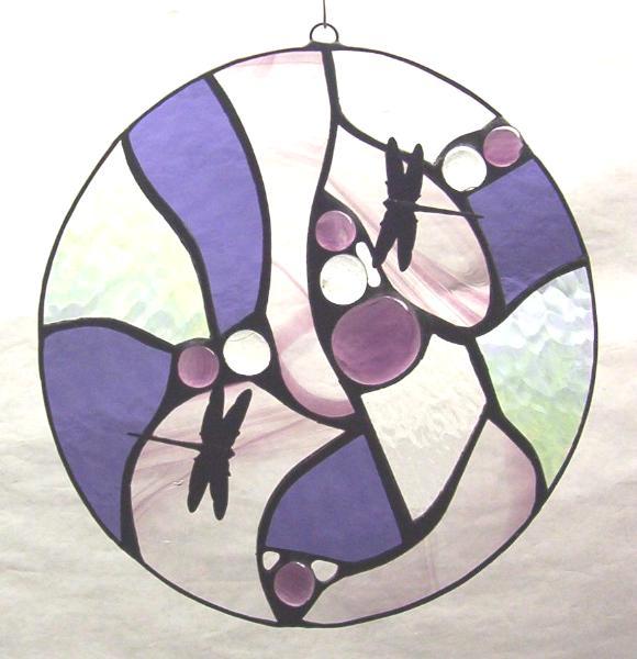 """Dragonfly Pond 11"""" Round Purple"""