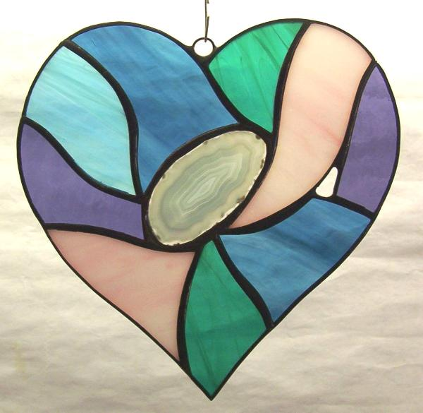 Abstract heart w/ blue agate