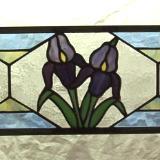 IRIS FLOWERS W/ GEOMETRIC BACKGROUND