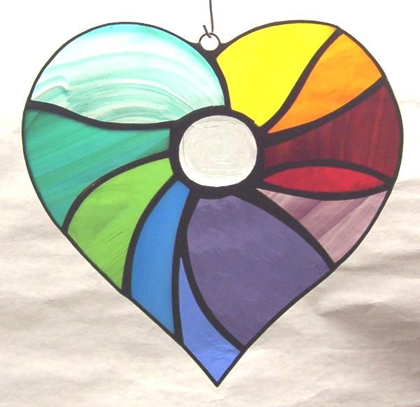 """Abstract Rainbow Heart Suncatcher 7"""""""