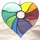 Abstract Rainbow Heart Suncatcher 7""