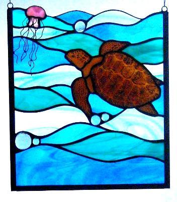 Loggerhead Turtle & Jellyfish Panel