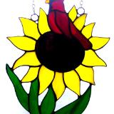 Cardinal Sitting in a Sunflower Large Sun Catcher