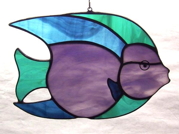 Queen angel fish suncatcher green heron glass studio for Stained glass fish