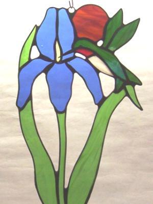 Hummingbird and Iris ~ Large Sun Catcher