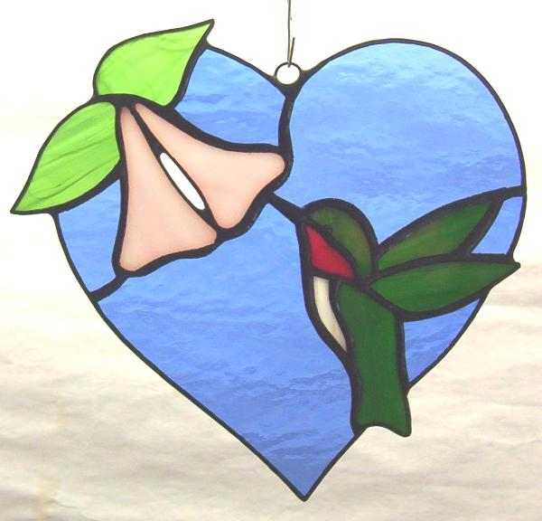 Heart & Hummingbird Suncatcher