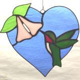 Heart & Hummingbird Suncatcher