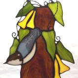 Brown Headed Nuthatch in Cow Itch Vine Large Sun Catcher