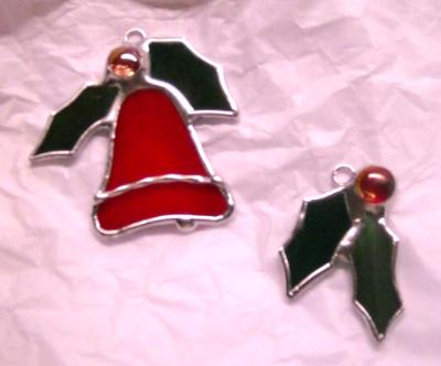 Bell & Holly Ornament Pair