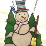 Stained Glass Snowman Window Art