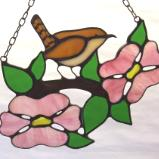 House Wren in Pink Dogwood Suncatcher