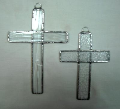 Pair of Large Crosses Clear Textured